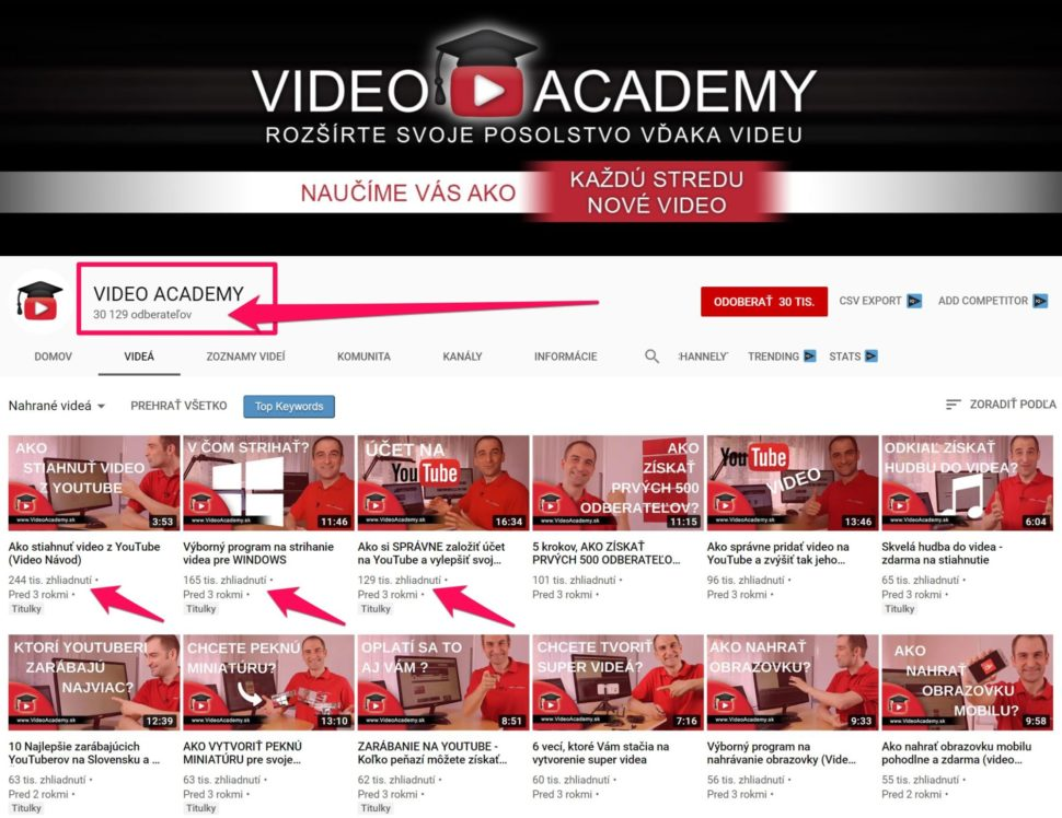 VIDEO ACADEMY - 30 tisic odberatelov na YouTube