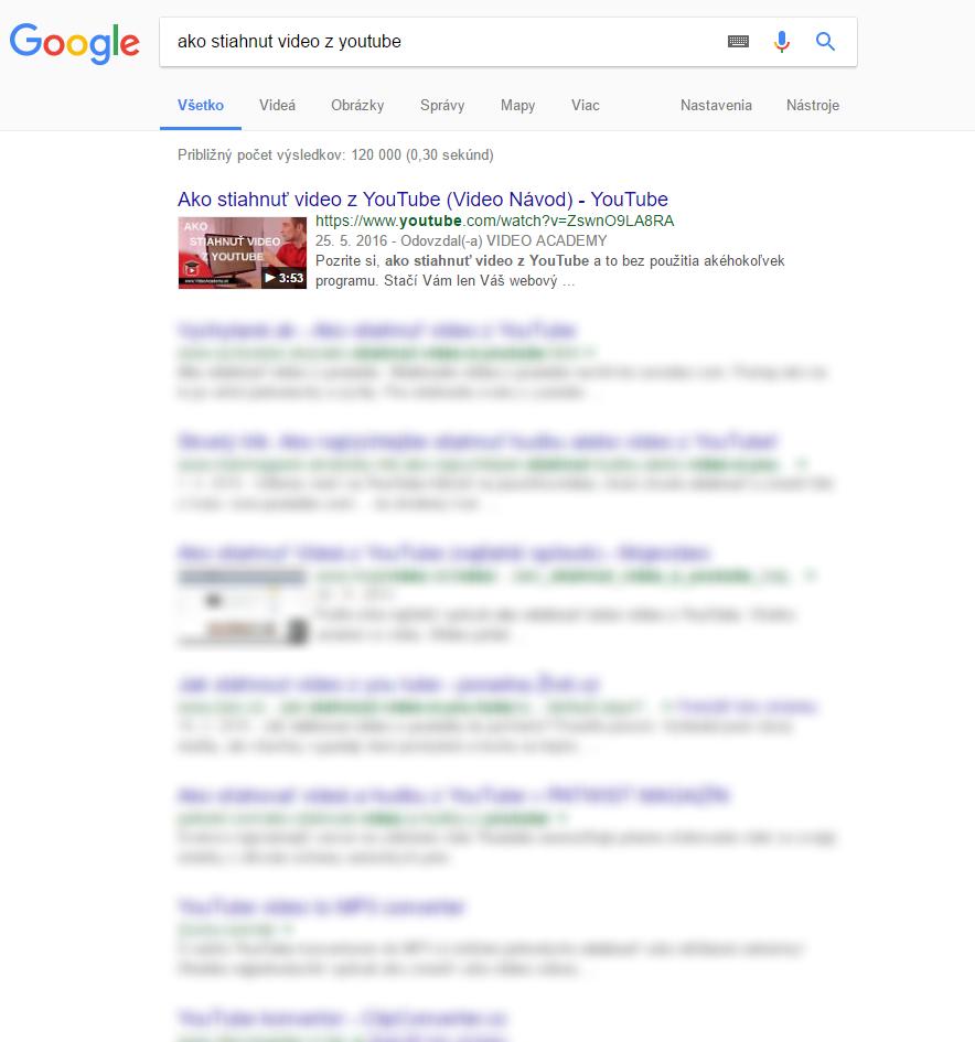 Google - Ako stiahnut video zYouTube
